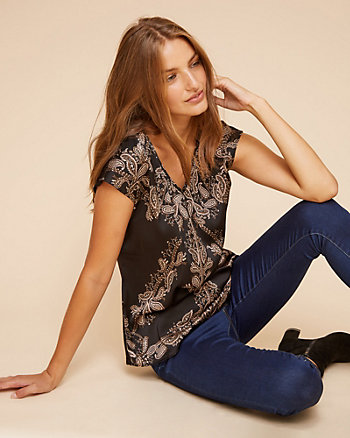 Leaf Print Satin & Knit V-Neck Top