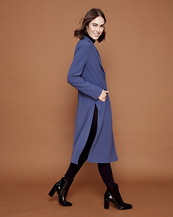 Crêpe Notch Collar Long Blazer