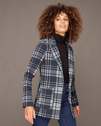 Check Print Ponte Knit Notch Collar Blazer