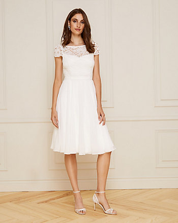 Lace & Chiffon Illusion Cocktail Dress