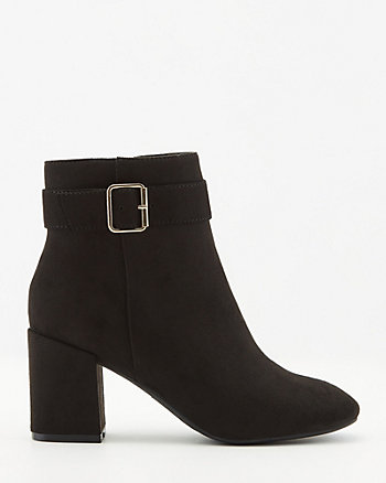 Faux Suede Block Heel Ankle Boot