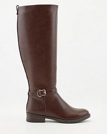 Faux Leather Knee-High Riding Boot