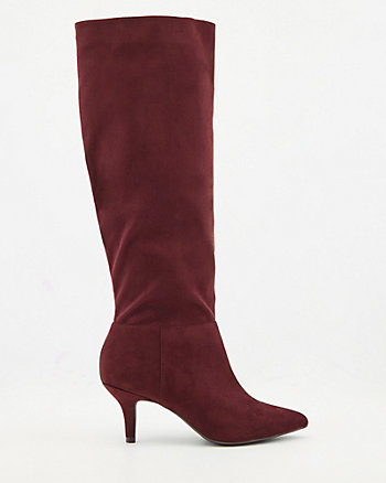 Faux Suede Pointy Toe Slouch Boot