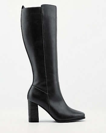 Faux Leather Square Toe Knee-High Boot