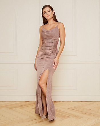 Sparkle Knit Cowl Neck Gown