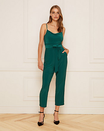 Knit Cowl Neck Wide Leg Jumpsuit