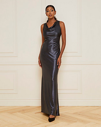 Foil Knit Cowl Neck Gown