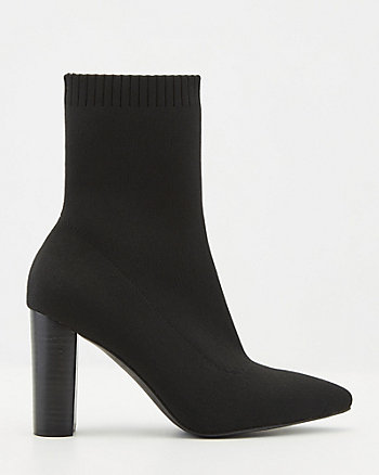 Stretch Knit Pointy Toe Ankle Boot