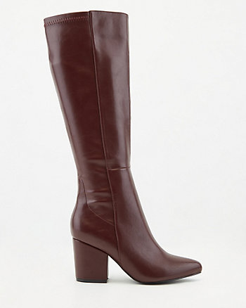 Faux Leather Pointy Toe Knee-High Boot