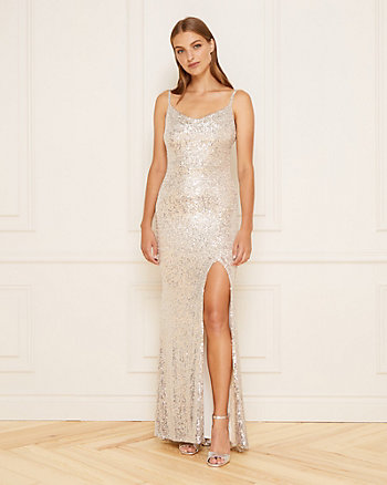 Sequin Cowl Neck Gown