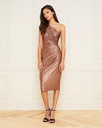 Foil Knit One Shoulder Dress