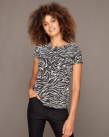 Zebra Print Cotton Blend Crew Neck Top