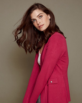 Viscose Blend Tailored Open-Front Cardigan