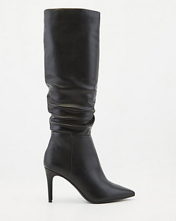 Ruched Pointy Toe Knee-High Boot