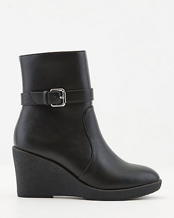 Faux Leather Wedge Ankle Boot