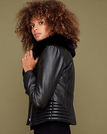 Faux Fur & Faux Leather Aviator Jacket