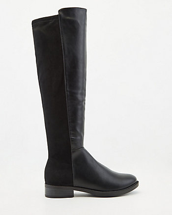 Stretch Faux Suede & Leather Knee-High Boot