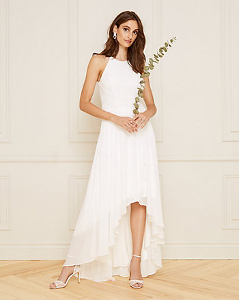 Lace Halter Neck High-Low Gown