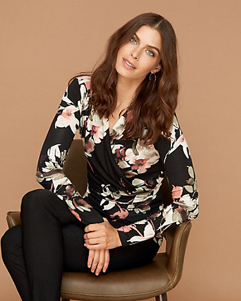 Floral Print Knit V-Neck Top