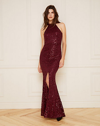 Sequin & Lace Halter Neck Gown