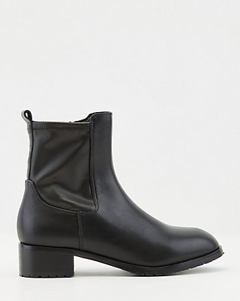 Stretch Faux Leather Block Heel Ankle Boot