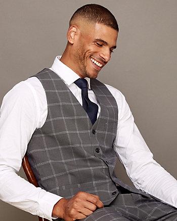 Check Print Wool Blend Vest