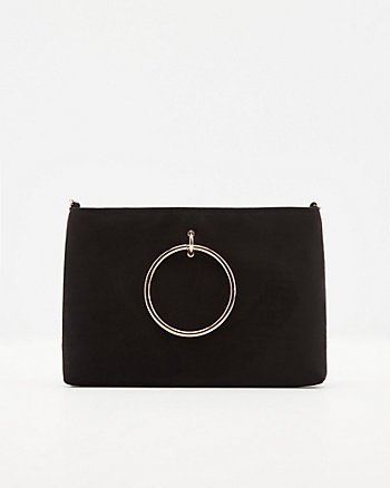 Faux Suede Top Handle Crossbody Bag