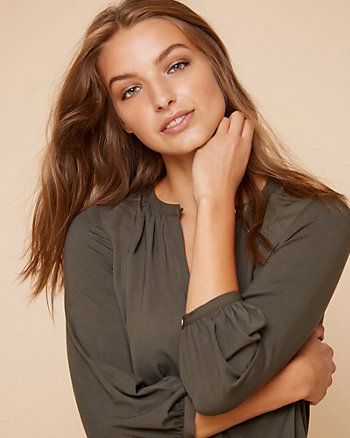 Silky Twill V-Neck Tunic Blouse