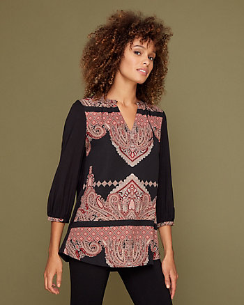 Ornamental Print Silky Twill Tunic Blouse