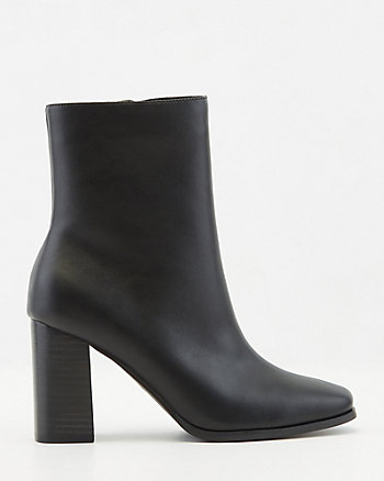 Faux Leather Square Toe Ankle Boot