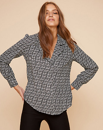Geo Print Shawl Collar V-Neck Blouse