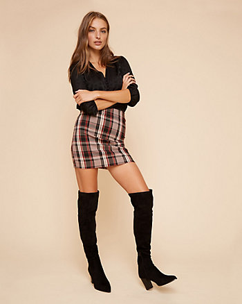 Check Print Tech Stretch Mini Skirt