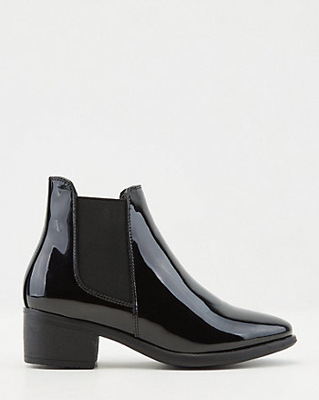 Patent Faux Leather Chelsea Boot