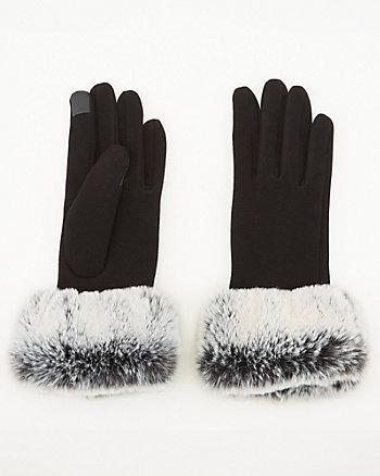 Faux Fur Knit Touchscreen Gloves