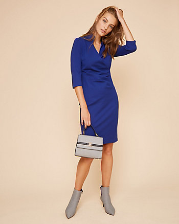 Ponte Knit High Neck Wrap-Like Dress