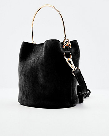 Faux Suede Bucket Bag