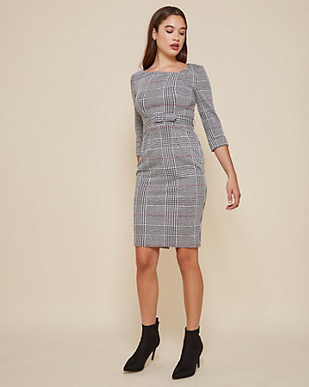 Belted Check Print Asymmetrical Dress