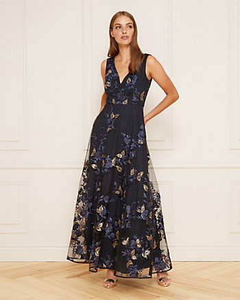 Embroidered Sequin V-Neck Gown