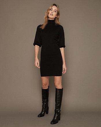 Rib Knit Turtleneck Sweater Dress