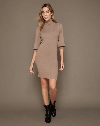 Rib Knit Turtleneck Sweater Dress