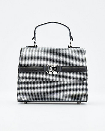 Houndstooth Top Handle Satchel