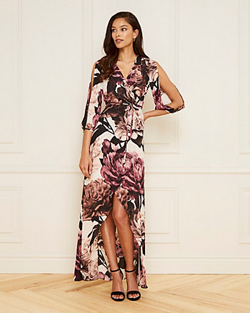 Floral Print V-Neck High-Low Dress