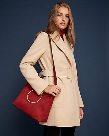 Belted Cashmere-Like Shawl Collar Coat