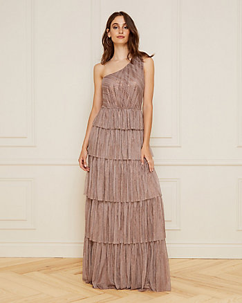 Foil Mesh One Shoulder Tiered Gown