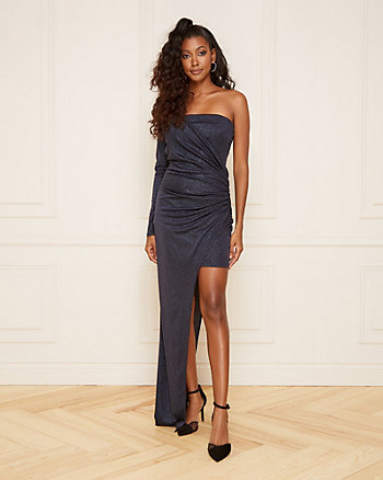 Sparkle Knit One Shoulder Wrap-Like Gown
