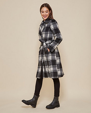 Check Print Open Collar Wrap Coat