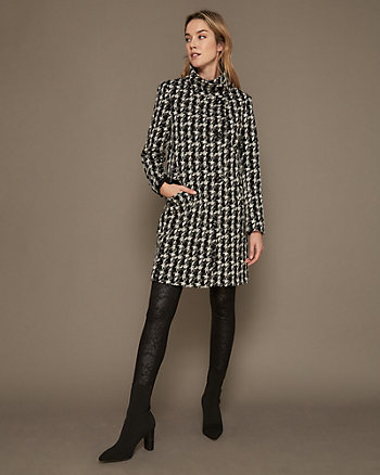Houndstooth Print Double Knit Coat