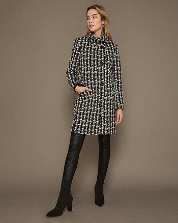 Manteau à motif pied-de-poule en tricot double