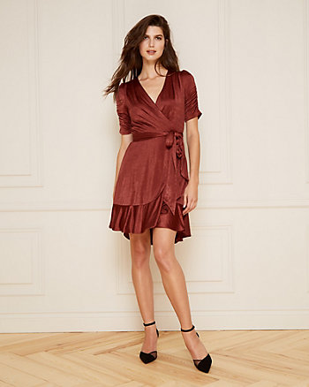 Satin Wrap-Like Ruffle Dress