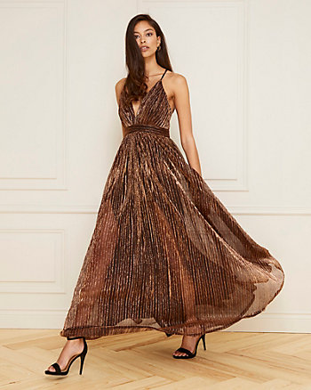 Metallic Knit Deep V-Neck Gown